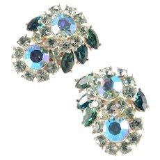Trifari Rhinestone Layered Rosette Earrings