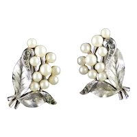 Trifari Rhinestone Faux Pearl Cluster Earrings
