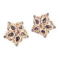 Coro Domed Rhinestone Star Earrings