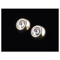 High Domed Rivoli Rhinestone Headlight Earrings Italy