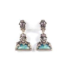 Selro Rhinestone Faux Marble Dangle Earrings
