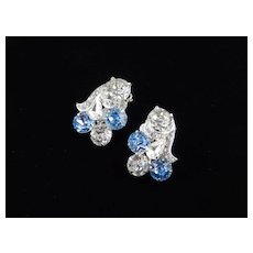 Eisenberg Ice Dentelle Rhinestone Earrings Rhodium Plate