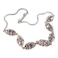 Rhinestone Oval Metal Bead Necklace