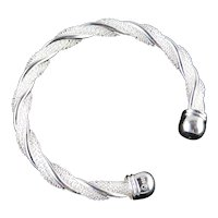 Sterling Silver Twisted Wire Rope Cable Cuff Bracelet