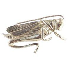 Early Two Piece Riveted Enamel Grasshopper Figural Brooch Pin