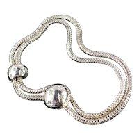 Mesh Snake Chain Rhinestone Button Loop Collar Choker Necklace