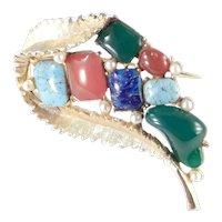 BSK Faux Jade Lapis Turquoise Carnelian Pearl Brooch Pin