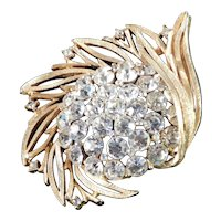 Lisner Leafy Domed Rhinestone Brooch Pin