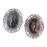 High Profile Relief Molded Glass Cameo Brooch Pin Pair
