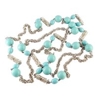 """Glass Faux Turquoise Bead 57"""" Rope Necklace"""