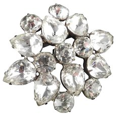 Large Rhinestone Shield Shaped Brooch Pin