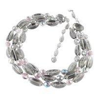 West Germany Three Strand Glass Bead Necklace