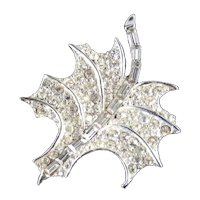 Pave Set Rhinestone Leaf Brooch Pin Rhodium Plate