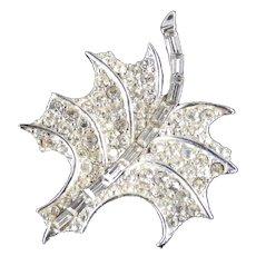 Pave Set Rhinestone Leaf Brooch Pin Rhodium Plate