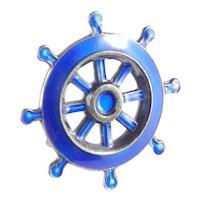 David Andersen Norway Sterling Silver Enamel Ship's Wheel Brooch Pin