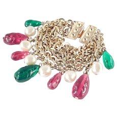 Ben-Amun Molded Gripoix Style Lucite Bead Faux Pearl Charm Bracelet