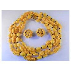 Hobe Glass Bead Flower Blossom Necklace Earrings Demi Parure Set