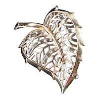 Trifari Baguette Rhinestone Leaf Brooch Pin Pat Pend
