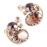 Rhinestone Art Glass Cluster Earrings