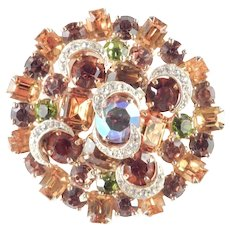 Kramer Domed Layered Rhinestone Brooch Pin