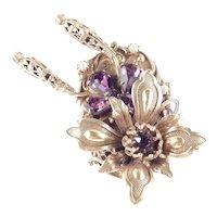Rhinestone Faux Pearl Filigree Thistle Brooch Pin Pendant
