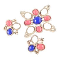 DeLizza & Elster for Sarah Coventry Americana Patriotic Cabochon Brooch Pin Earrings Set