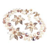DeMario Molded Glass Faux Pearl Crystal Bead Rhinestone Necklace Earrings Set