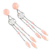 Art Deco Faux Angel Skin Coral Glass Bead Dangle Chandelier Earrings