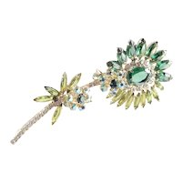 DeLizza & Elster Juliana Rhinestone Art Glass Long Stemmed Flower Brooch Pin