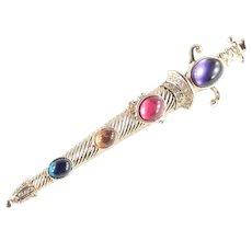 Lucite Jeweled Cabochon Rhinestone Sword Saber Scimitar Scabbard Brooch Pin