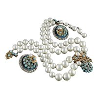 Robert DeMario Rhinestone Cabochon Faux Pearl Necklace Earrings Set