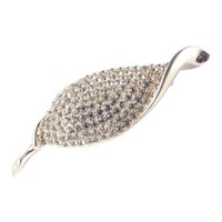 Weiss Domed Rhinestone Curled Leaf Brooch Pin