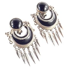 Ugo Correani Enamel Etruscan Door Knocker Fringe Dangle Earrings