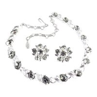 Lisner Smoky Quartz Rhinestone Necklace Earrings Demi Parure Set