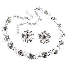 Lisner Smoky Quartz Rhinestone Necklace Earrings Demi Parure Set