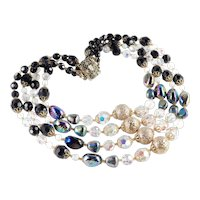 4 Row Iridescent Opalescent Crystal Glass Sugar Bead Necklace