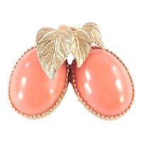 Jeanne Large Fruit Figural Cabochon Brooch Pin