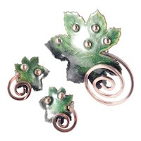 Matisse Renoir Copper Enamel Maple Leaf Brooch Pin Earrings Set