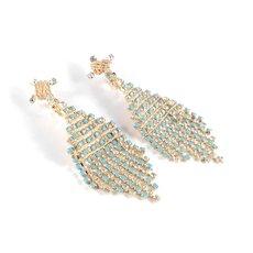 Rhinestone Faux Turquoise Wire Wrapped Dangle Chandelier Earrings