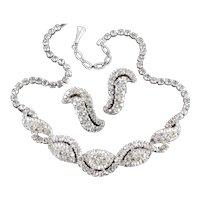 Rhinestone Swirl Necklace Earrings Demi Parure Set