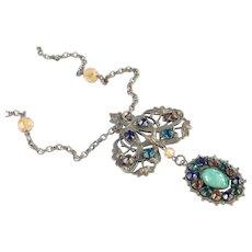 Victorian Rhinestone Glass Bead Brass Filigree Pendant Necklace