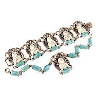 Molded Carved Buddha Figural Rhinestone Faux Jade / Pearl Link Bracelet Necklace Set