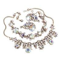 Hollycraft 1958 Aurora Borealis Rhinestone Necklace Bracelet Earrings Parure Set