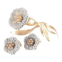 Pave Rhinestone Flower Floral Blossom Brooch Pin Earrings Set