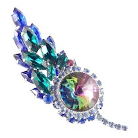 Watermelon Rivoli Layered Rhinestone Brooch Pin