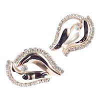 Large Rhinestone Flame Earrings