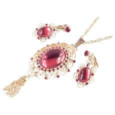 Rhinestone Cabochon Heart Scroll Filigree Fringe Pendant Necklace Earrings Set