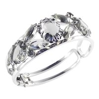 Juliana D & E DeLizza Elster Rhinestone Art Glass Hinged Clamper Bracelet