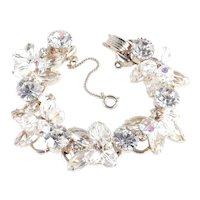 Juliana D & E DeLizza Elster Rhinestone Art Glass Crystal Bead Dangle Link Bracelet