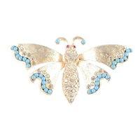 Ledo Polcini Rhinestone Faux Turquoise Bead Butterfly Figural Brooch Pin